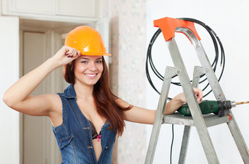 Sexy beauty girl in hardhat