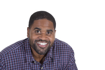 Smiling black male on white