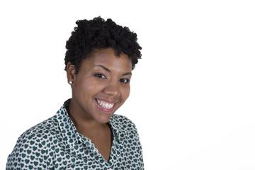 Beautiful black woman on white