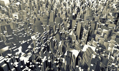 Abstract city made of cubes