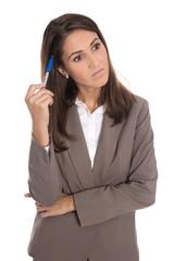 Sorgenvolle freigestellte Frau mit Burnout und Problemen