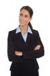 Business Frau freigestellt mit seitlichem Blick