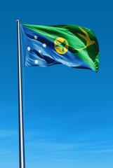 Christmas Island flag waving on the wind