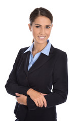Junge erfolgreiche Geschäftsfrau in blauem Kostüm isoliert