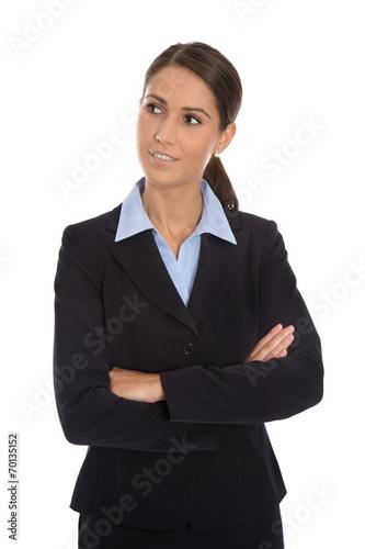 canvas print picture Business Frau freigestellt mit seitlichem Blick