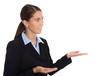Produktpräsentation: Frau business freigestellt mit Hand