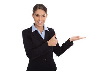 Empfehlung und Vorstellung eines Produktes: Frau isoliert
