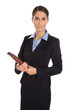 Karrierefrau: Professionelle Beraterin isoliert in Kostüm