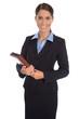 Freisteller: Attraktive Geschäftsfrau in Kostüm blau