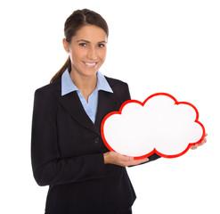 Attraktive Geschäftsfrau in Blau mit Schild für Werbung in Rot