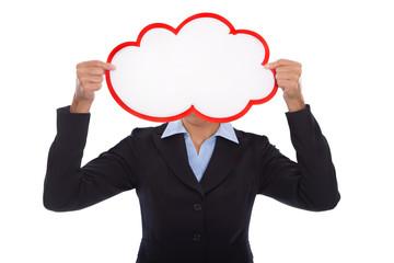 Cloud: Werbeschild in rot weiß freigestellt