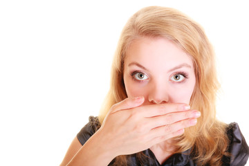 woman surprised buisnesswoman covers her mouth isolated
