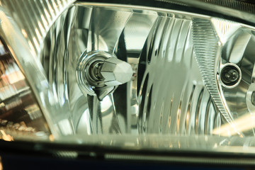 Closeup of car headlight detail