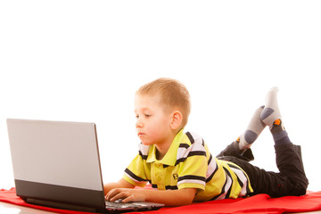 Education, technology internet - little boy with laptop