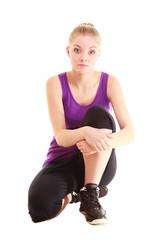 Sport. Flexible fitness girl doing stretching exercise