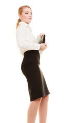 Businesswoman or teacher woman with briefcase