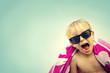 Leinwanddruck Bild - Excited Child in Beach Towel on Summer Day