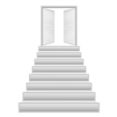 steps with 2 doors