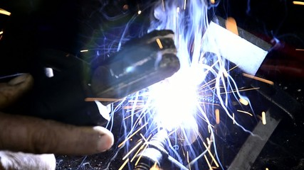 Man Welding Extreme Close Up