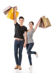 Asian couple shopping