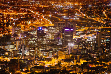 Night View of City Bowl and Business District of Cape Town