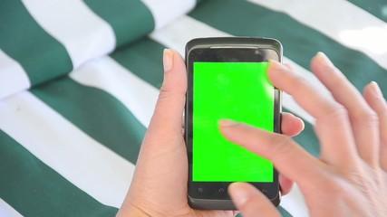 Hands on a smart phone CHROMA KEY