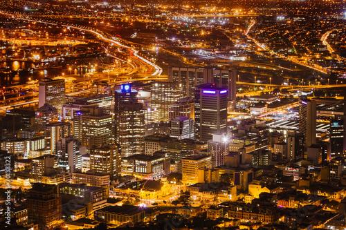 Papiers peints Afrique du Sud Night View of City Bowl and Business District of Cape Town