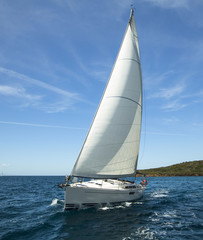 Luxury yacht at ocean race. Sailing regatta. Romantic trip.