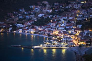 Marina of Monemvasia at night time in Greece.