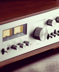 Vintage Stereo Audio Amplifier Volume Knob