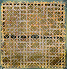 detail of a rattan chair.