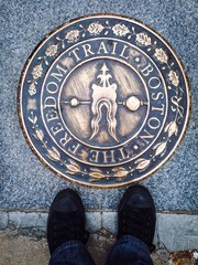 Boston Freedom Trail mark denoting stop