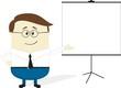 businessman flip chart cartoon