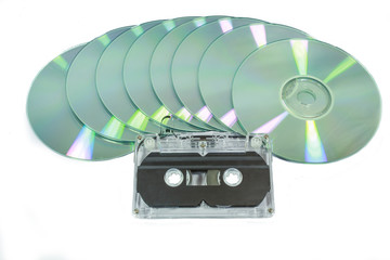 cassette tape and cd disk isolated
