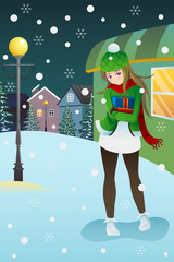 Girl standing in the middle of winter night