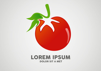 Ripe red tomatoes with green tail logo vector