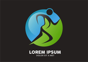 people running in circle, fitness icon logo vector