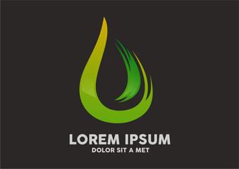 Vector green handmade painting logo vector