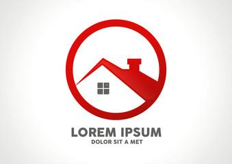 House symbol in circle logo vector