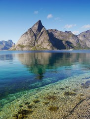 The contrast of sea and mountains in Lofoten
