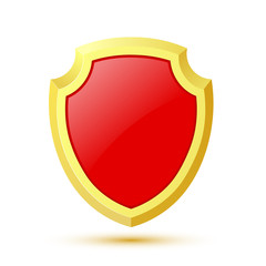 Single, isolated on white background red shield. Vector illustra