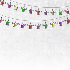 Garland of colored paper lanterns winter abstract background wit