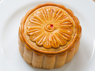 Moon Cake close up on old wood table , Chinese Culture