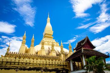 The golden pagoda wat Phra That Luang in Vientiane.