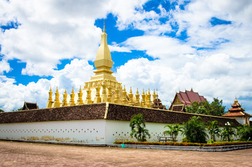The golden pagoda wat Phra That Luang in Vientiane.