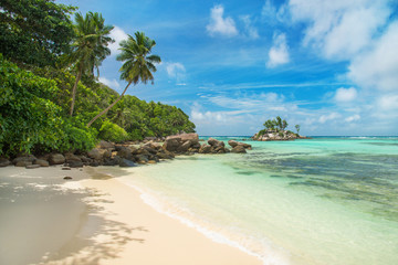 Tropical beach Anse Royale at island Mahe, Seychelles
