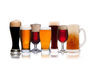 Set of various beer isolated on a white background