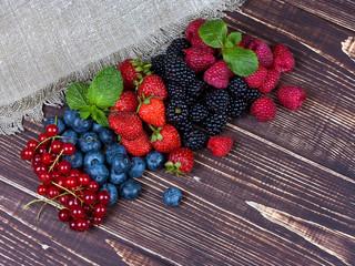Strawberries, blueberries, blackberries, raspberries
