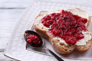 Fresh toast with  homemade butter and raspberry jam