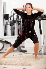 woman, ems electro muscular stimulation exercise